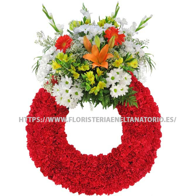 Corona con Lilium, gerberas, margaritas, gladiolos y claveles