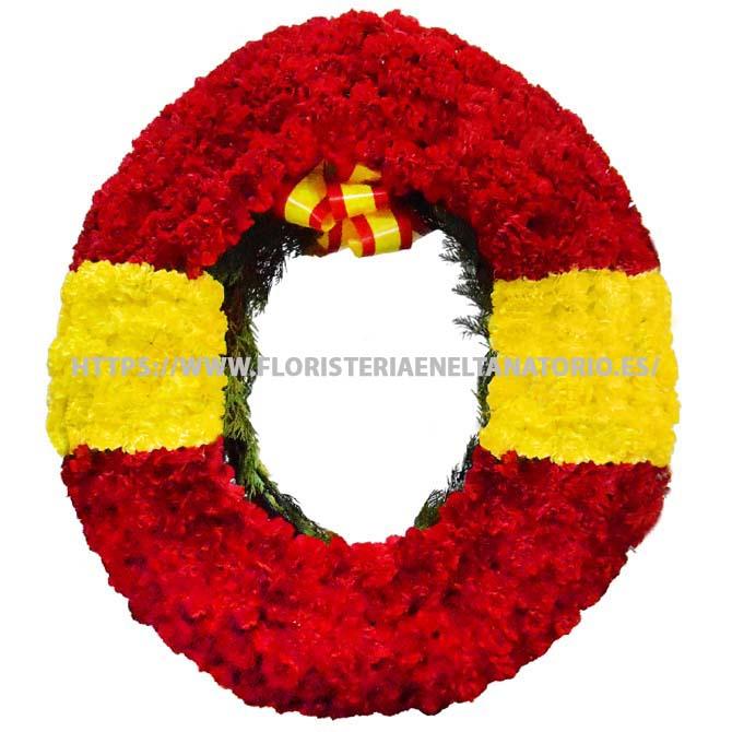 Corona con claveles rojos y amarillos