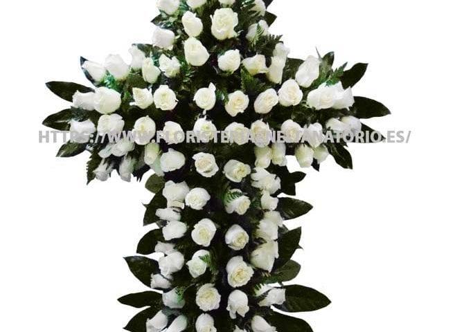 cruz floral funebre para tanatorio